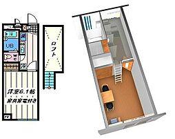 千葉県松戸市松飛台の賃貸アパートの間取り