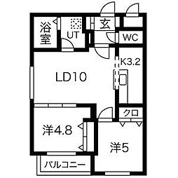 札幌市電2系統 幌南小学校前駅 徒歩2分の賃貸マンション 3階2LDKの間取り