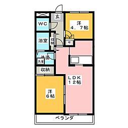 コンフォース東中島[3階]の間取り