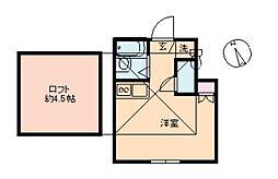 東京都品川区南大井1丁目の賃貸アパートの間取り
