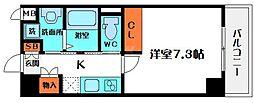 リバティ京橋イースト 7階1Kの間取り