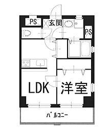 グランドスクエアII 4階1LDKの間取り