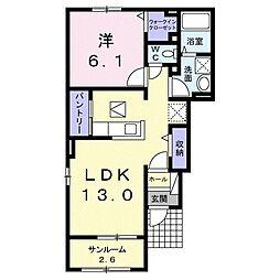 JR宇野線 八浜駅 7.7kmの賃貸アパート 1階1LDKの間取り