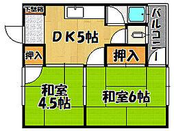 兵庫県明石市東藤江1丁目の賃貸アパートの間取り