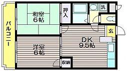パストラルマンションM2[A307号室]の間取り