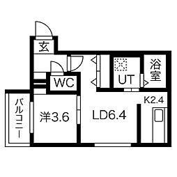 エフォート新道東 3階1LDKの間取り
