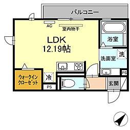 D-room若松町 3階ワンルームの間取り