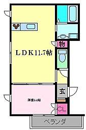 Petit Cerisier 2階1LDKの間取り