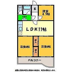 八弘マンション[3階]の間取り