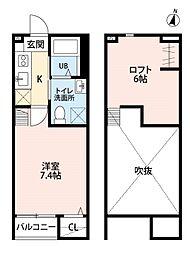 仙台市営南北線 八乙女駅 徒歩12分の賃貸アパート 2階1Kの間取り