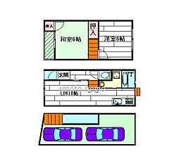 [テラスハウス] 大阪府吹田市尺谷 の賃貸【/】の間取り