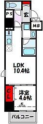D-room gracious平尾 2階1LDKの間取り