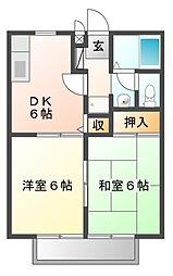 エステートユリ B棟[1階]の間取り