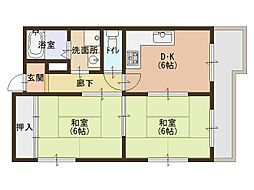 Osaka Metro長堀鶴見緑地線 蒲生四丁目駅 徒歩5分の賃貸マンション 4階2DKの間取り