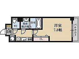 Luxe東三国4 2階1Kの間取り