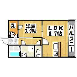 兵庫県神戸市垂水区五色山1丁目の賃貸アパートの間取り