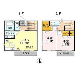 小田急多摩線 はるひ野駅 徒歩11分の賃貸テラスハウス 1階2LDKの間取り