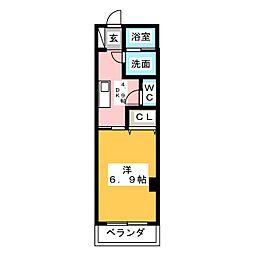 La Veriteノムラ大喜新町 3階1DKの間取り