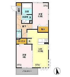 ヴィラ柴田中居[2階]の間取り