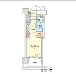 JR山手線 田町駅 徒歩10分の賃貸マンション 6階ワンルームの間取り