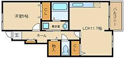 大阪府藤井寺市大井3丁目の賃貸アパートの間取り