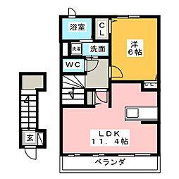 ソレイユ新富士[2階]の間取り