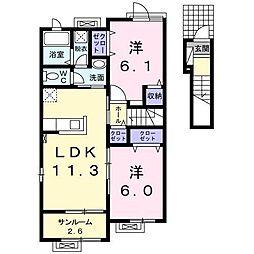 [大東建託]プリマヴェーラC (十和田市)[2階]の間取り