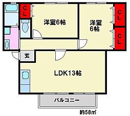 ソレジオ72II[2階]の間取り