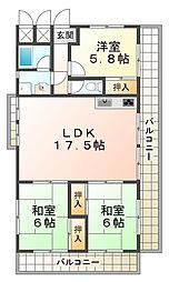 ピュアハイツ高丸第2[6階]の間取り