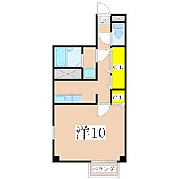 鹿児島県鹿児島市紫原1丁目の賃貸アパートの間取り