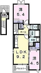 カーサ フェリーチェ 2階2LDKの間取り