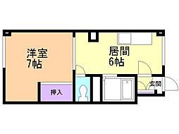 ライブタウン富岡I 1階1DKの間取り