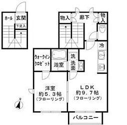 東京都目黒区三田1丁目の賃貸アパートの間取り
