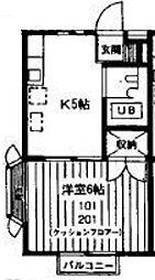 ベルシオン田中[101号室]の間取り