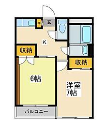 東京都荒川区荒川1丁目の賃貸マンションの間取り