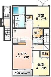 岡山県岡山市中区長岡丁目なしの賃貸アパートの間取り