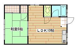福岡県北九州市小倉北区篠崎1丁目の賃貸アパートの間取り