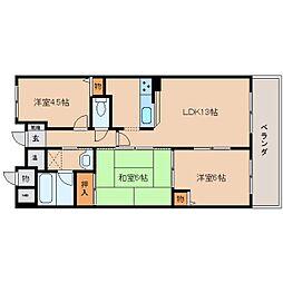 近鉄大阪線 耳成駅 徒歩6分の賃貸マンション 3階3LDKの間取り