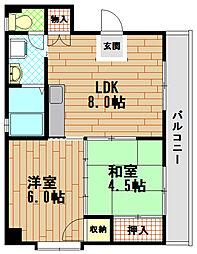 兵庫県神戸市中央区上筒井通7丁目の賃貸マンションの間取り