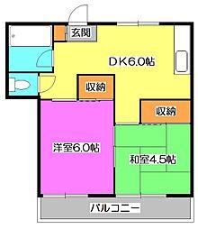 東京都東村山市恩多町5丁目の賃貸アパートの間取り