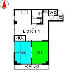 ライフ21[6階]の間取り