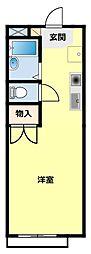 名鉄三河線 若林駅 徒歩19分の賃貸アパート 1階1Kの間取り