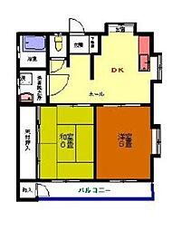 第二メゾン六会[2階]の間取り