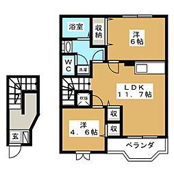 フォンターナサノB[2階]の間取り