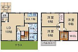 [テラスハウス] 大阪府豊中市春日町2丁目 の賃貸【/】の間取り
