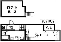 Osaka Metro谷町線 田辺駅 徒歩6分の賃貸アパート 1階1Kの間取り