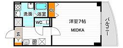 Osaka Metro谷町線 駒川中野駅 徒歩6分の賃貸マンション 5階1Kの間取り