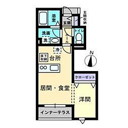 愛媛県松山市朝生田町5丁目の賃貸アパートの間取り