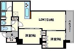 ブランズタワー・ウェリス心斎橋SOUTH[12階]の間取り