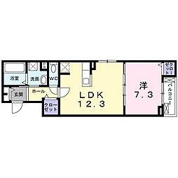 JR東海道・山陽本線 茨木駅 徒歩19分の賃貸アパート 3階1Kの間取り